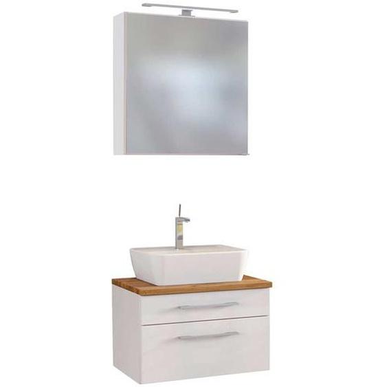 Waschplatz Set in Weiß und Wildeiche Dekor LED Beleuchtung (2-teilig)