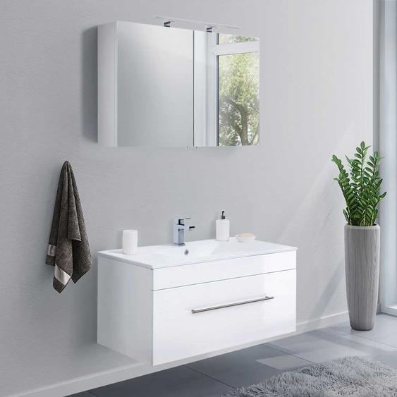 Waschplatz Set in Weiß Hochglanz modern (2-teilig)