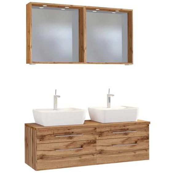 Waschplatz Set mit Doppelwachtisch 2 LED Spiegeln (3-teilig)