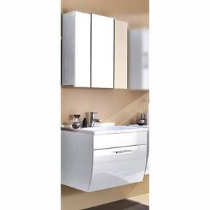 Waschplatz & Spiegelschrankl Set TALONA-02 Hochglanz weiß, 70cm Waschtisch, B x H x T: 70 x 200 x 49,5 cm