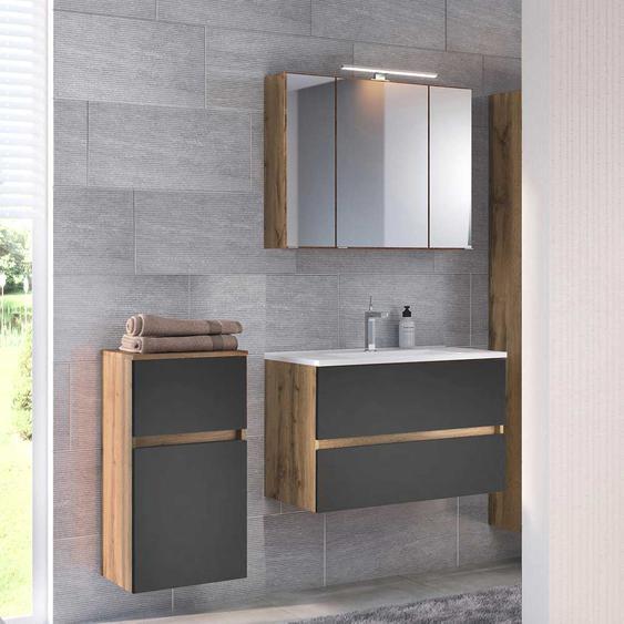 Waschraum Set in Dunkelgrau und Wildeiche Optik Made in Germany (3-teilig)