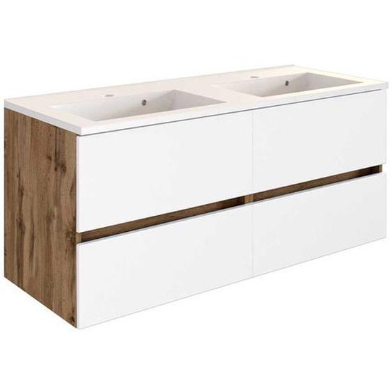 Waschschrank in Weiß und Wildeiche Optik Doppelwaschbecken