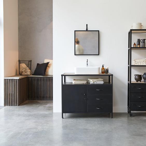 Waschtisch 95 industrieller Stil mit Manggoholz Metall und Holz im Materialmix