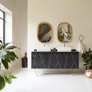 Waschtisch aus dunklem Mangoholz mit goldenen spitzen Füßen 155 cm Liv