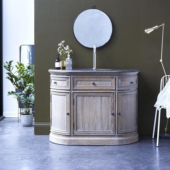 Waschtisch aus Eiche mit integriertem Keramik Waschbecken Steinplatte Bad