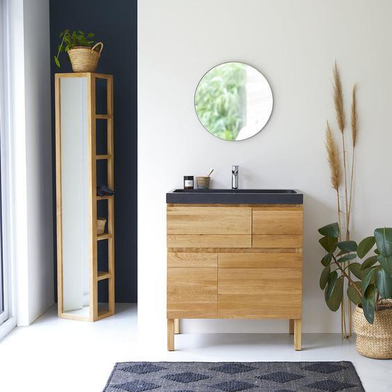 Waschtisch aus Eiche mit Lavastein-Waschbecken Loft Sil Trendy