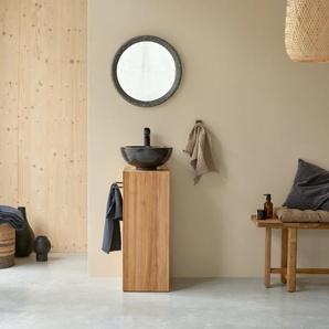 Waschtisch Bad Gästebad kleine Räume Teak Handtuchhalter Unterschrank massiv