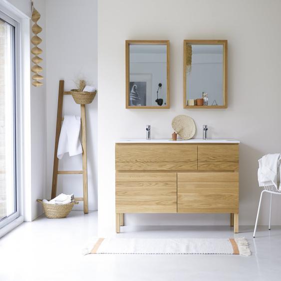 Waschtisch Doppelwaschtisch aus Eiche mit Keramikwaschbecken Loft Sil Trendy