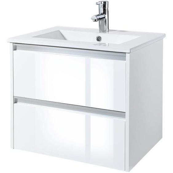 Waschtisch Fonte, mit 2 Schubladen, 60 cm Breite 59 x 50 weiß Waschtische Badmöbel
