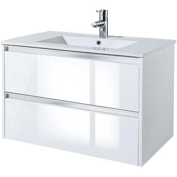 Waschtisch Fonte, mit 2 Schubladen, 80 cm Breite 79 x 50 weiß Waschtische Badmöbel