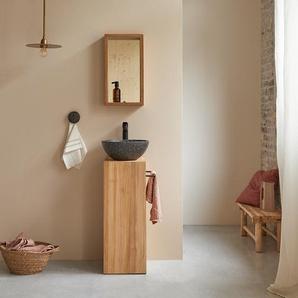 Waschtisch Gästebad kleine Räume Teak Handtuchhalter Unterschrank massiv