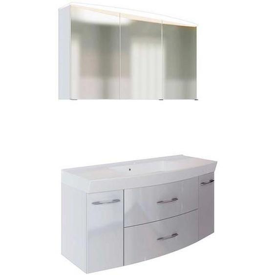 Waschtisch mit 3D Spiegelschrank in Weiß Hochglanz LED Beleuchtung (2-teilig)
