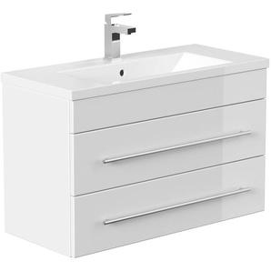 Waschtisch ALISTAIR 800 SlimLine Hochglanz weiß Keramikbecken 80 x 52 x 36 cm