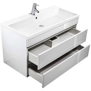 Waschtisch mit Unterschrank KASSANDRA-02 Hochglanz weiß B x T x H ca. 100 x 58,4 x 48 cm