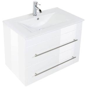 Waschtisch SAPHIRA 750 Hochglanz weiß Keramikbecken 75,5 x 61,6 x 46,3
