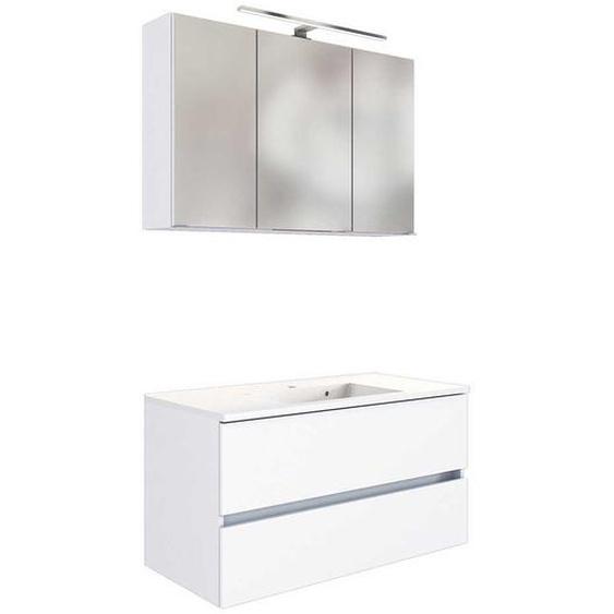 Waschtisch Set in Weiß LED Beleuchtung (2-teilig)