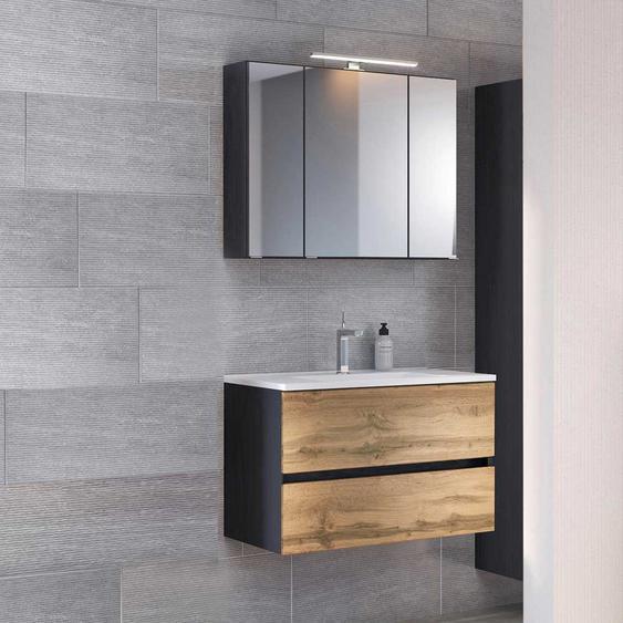 Waschtisch und Spiegelschrank in Anthrazit und Wildeiche Optik h�ngend (2-teilig)