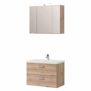 Waschtisch und Spiegelschrank in Buche hell h�ngend (2-teilig)