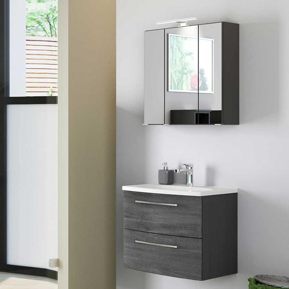 Waschtisch und Spiegelschrank in Eiche Grau Optik h�ngend (2-teilig)