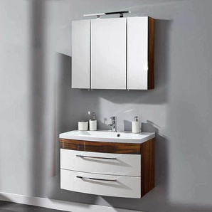 Waschtisch und Spiegelschrank in Wei� Hochglanz Walnuss (2-teilig)
