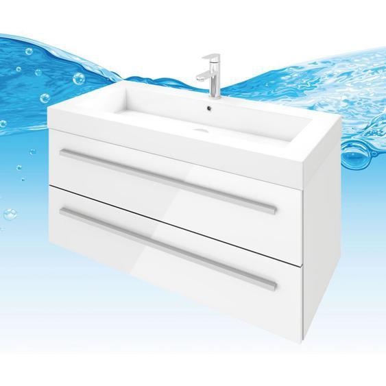 Waschtisch Waschbecken City 101 Hochglanz weiß Badezimmermöbel Badmöbel 100 cm - TRENDBAD24 GMBH & CO. KG