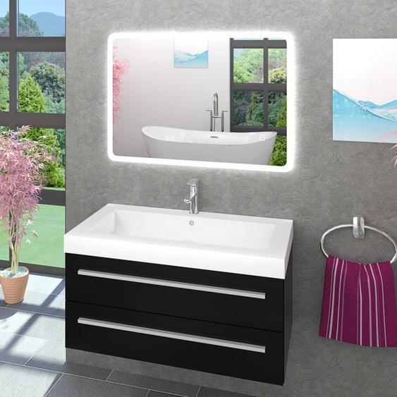 Waschtisch Waschbecken Leuchtspiegel Unterschrank City 101 100cm schwarz -20077-002- mit Spiegelheizung - TRENDBAD24 GMBH & CO. KG