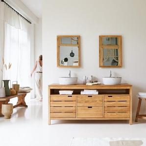 Waschtisch Waschbeckenschrank Bad 165cm Unterschrank massiv Holz Eiche Badmöbel
