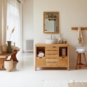 Waschtisch Waschbeckenschrank Badezimmer Unterschrank massiv Holz Eiche Badmöbel