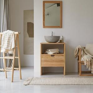 Waschtisch Waschbeckenunterschrank aus Teak 60 cm breit ideal für kleine Bäder