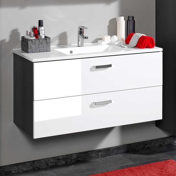 Waschtischkonsole in Weiß Hochglanz hängend