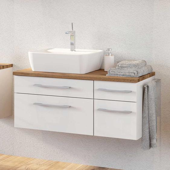 Waschtischkonsole mit Schubladen Weiß und Wildeiche Dekor