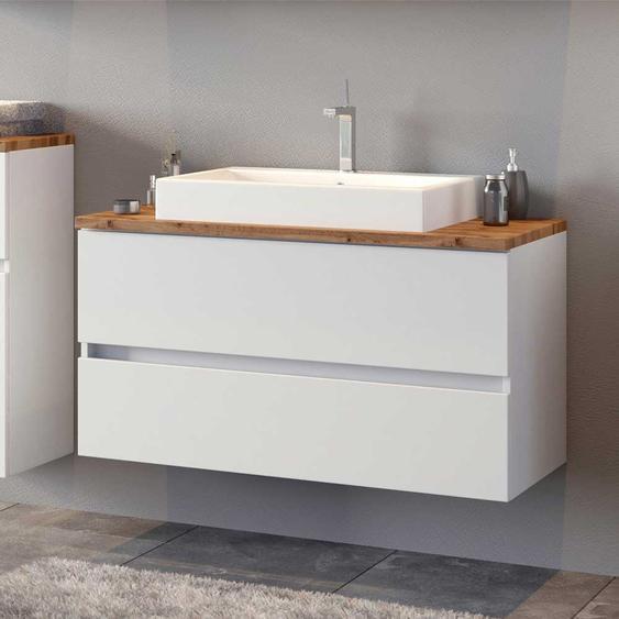 Waschtischunterschrank in Wei� und Wildeiche Optik Aufsatz-Waschbecken