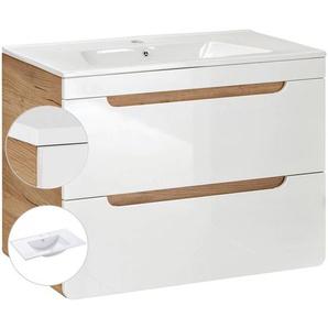 Waschtischunterschrank inkl. Keramikwaschtisch 80 cm LUTON-56, Hochglanz weiß, B x H x T ca. 80 x 59 x 46cm