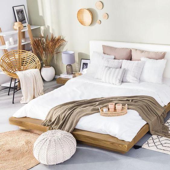 Wasserbett heller Holzfarbton 160 x 200 cm ZEN