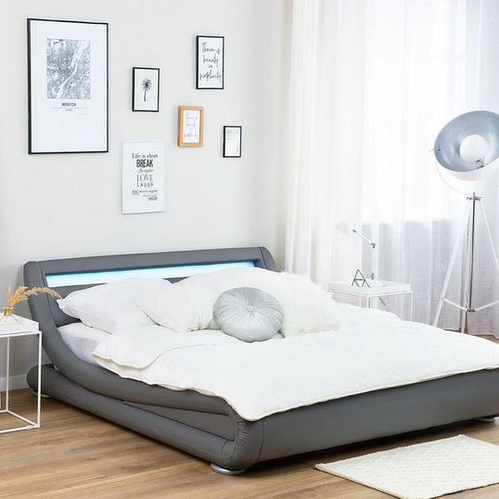 Wasserbett Kunstleder grau 160 x 200 cm mit LED-Beleuchtung AVIGNON