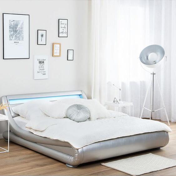 Wasserbett Kunstleder Silber 160 x 200 cm mit LED-Beleuchtung AVIGNON