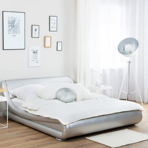 Wasserbett Kunstleder Silber 180 x 200 cm AVIGNON