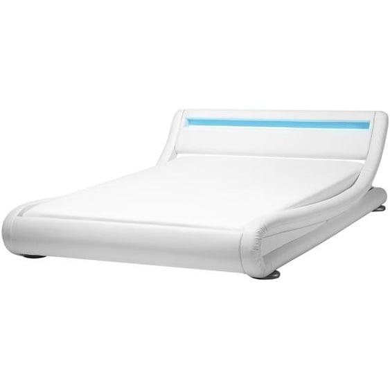 Wasserbett Kunstleder weiß 140 x 200 cm mit LED-Beleuchtung AVIGNON