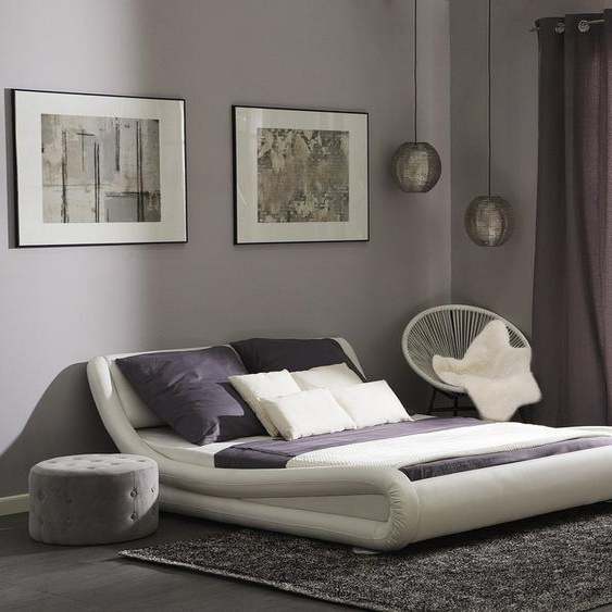 Wasserbett Kunstleder weiß 160 x 200 cm AVIGNON