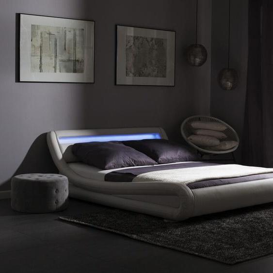Wasserbett Kunstleder weiß 160 x 200 cm mit LED-Beleuchtung AVIGNON