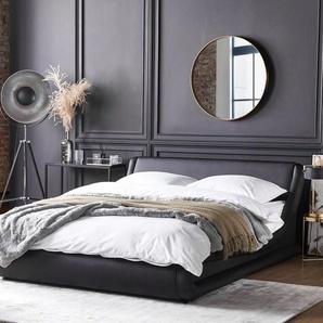Wasserbett Leder schwarz 180 x 200 cm AVIGNON