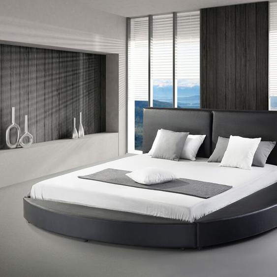 Wasserbett Leder schwarz 180 x 200 cm LAVAL