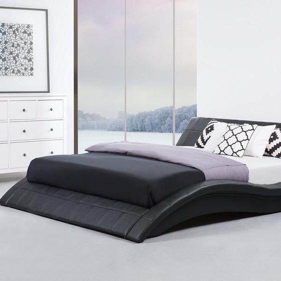 Wasserbett Leder schwarz 180 x 200 cm VICHY