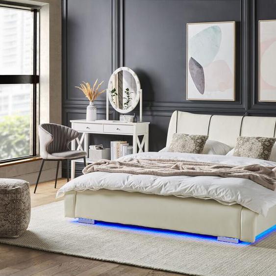 Wasserbett Leder weiß 140 x 200 cm mit LED-Beleuchtung bunt NANTES