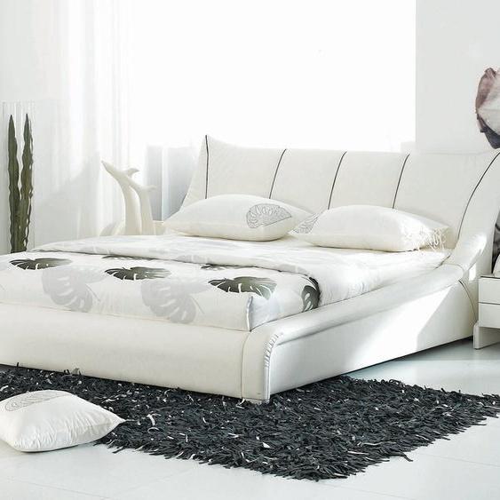 Wasserbett Leder weiß 180 x 200 cm NANTES