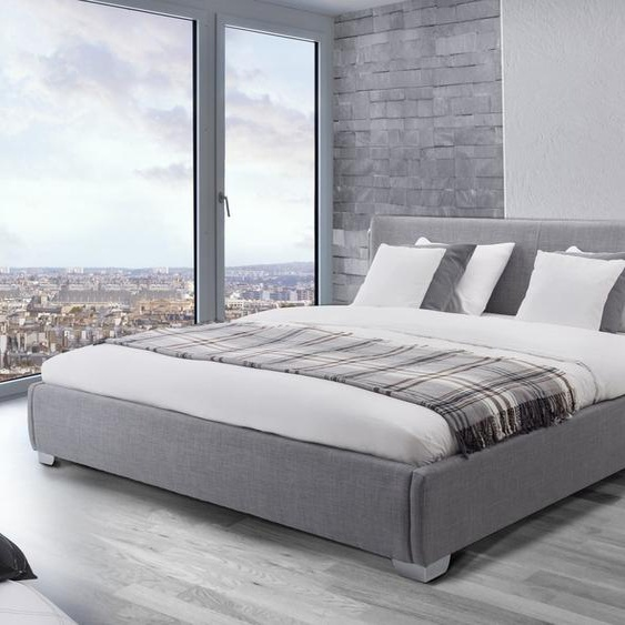 Wasserbett Polsterbezug grau 180 x 200 cm PARIS