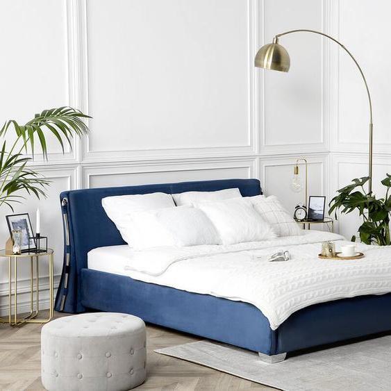 Wasserbett Samtstoff dunkelblau 160 x 200 cm PARIS