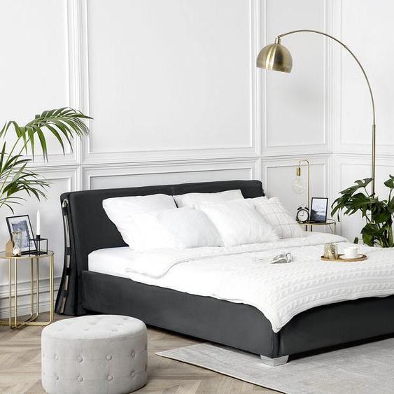 Wasserbett Samtstoff schwarz 160 x 200 cm PARIS