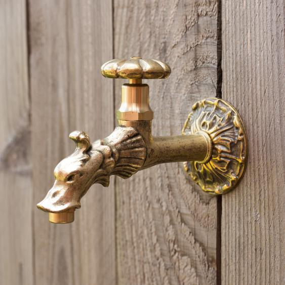 Wasserhahn für Wandbrunnen, Wasserspeier aus Messing, wie Antik 1/2