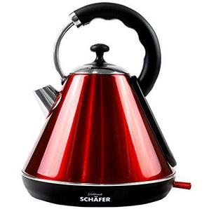 Wasserkocher Retro Design Edelstahl Kunststoffgriff 1850-2200 Watt 1,8 Liter Klassisches Design, Farbe:rot